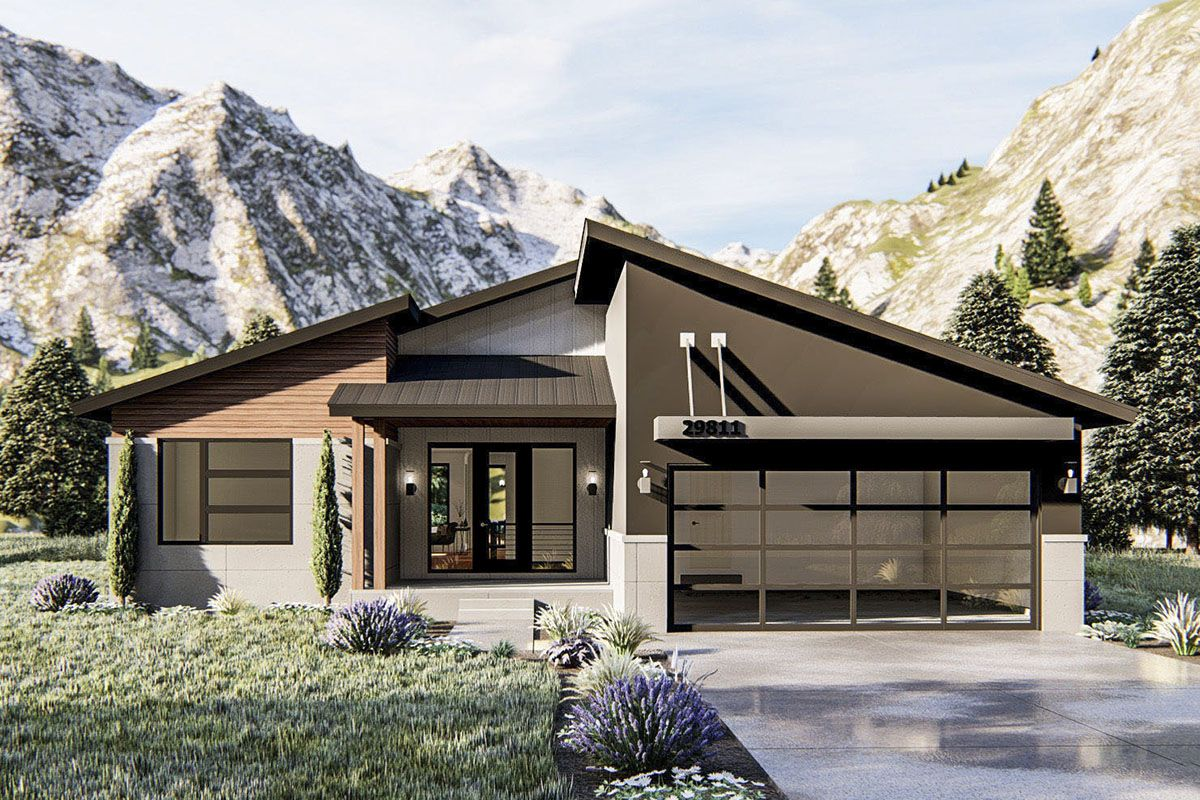 Plan 62815dj Modern Ranch Home Plan With Dynamic Roofline Contemporary House Plans Ranch House Plans Modern Ranch