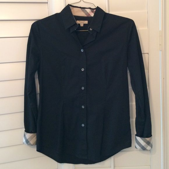 Burberry black button down shirt | Black button and Burberry plaid