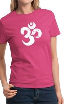 cbb6d2f678f Ladies Yoga Shirt White Distressed OM Tee T-Shirt