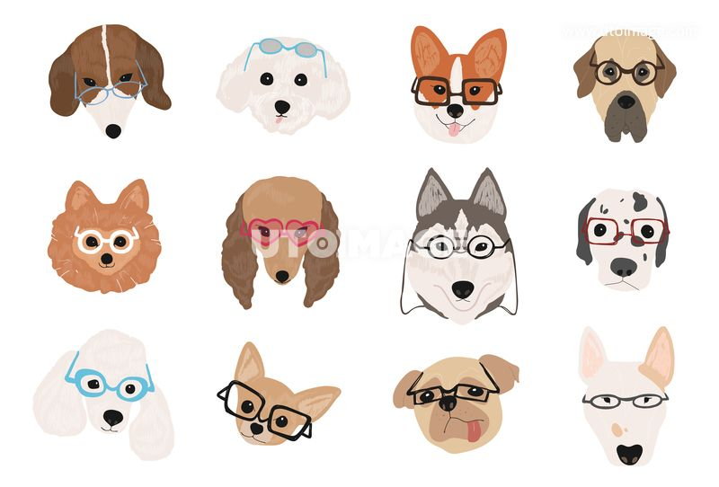 Collection Of Cute Dogs Of Various Breeds Wearing Glasses And Sunglasses Of Different Styles Bundle Of Funny Cartoon P Cartoon Animals Cute Dogs Funny Cartoon