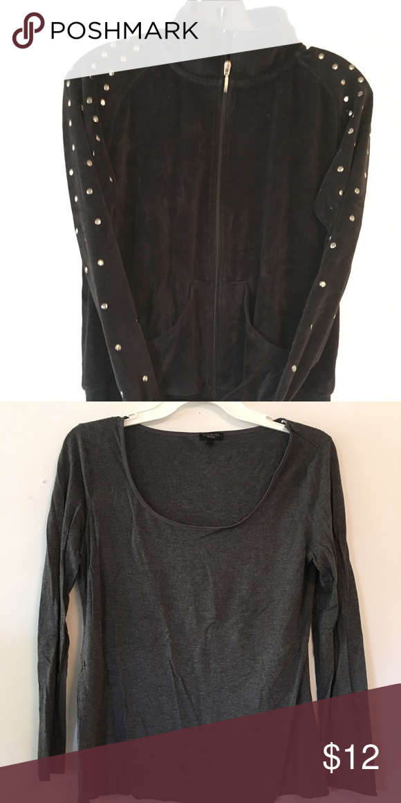 Ladies 2 Tops For One Price 1 Outerwear 1 Shirt Grey Shirt