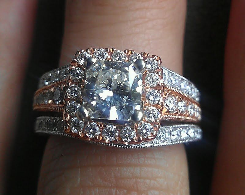 Rose Gold Engagement Ring With Two White Gold Skinny Wedding Bands! Ring Of  My Dreams Right Here!