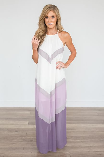 c440d62d629 Shop our High Neck Colorblock Maxi Dress in Purple and Cream. Pair with  heels and a clutch for a chic look. Always free shipping on all US orders.