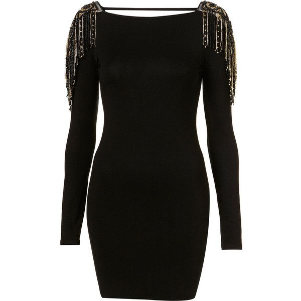 Gold Fringe Dress By Dress Up Topshop** (155 AUD) ❤ liked on Polyvore featuring dresses, vestidos, robe, vestiti, women, long sleeve dresses, scoop neck dress, gold cocktail dress, body con dresses and long sleeve fringe dress