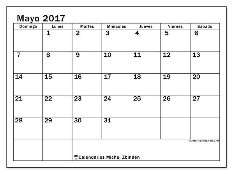 Gratis! Calendarios para mayo 2017 para imprimir - Venezuela | Lugares ...