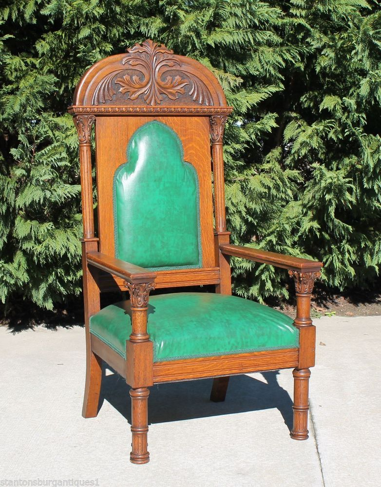 Majestic Gothic Victorian Solid Tiger Oak Throne Library