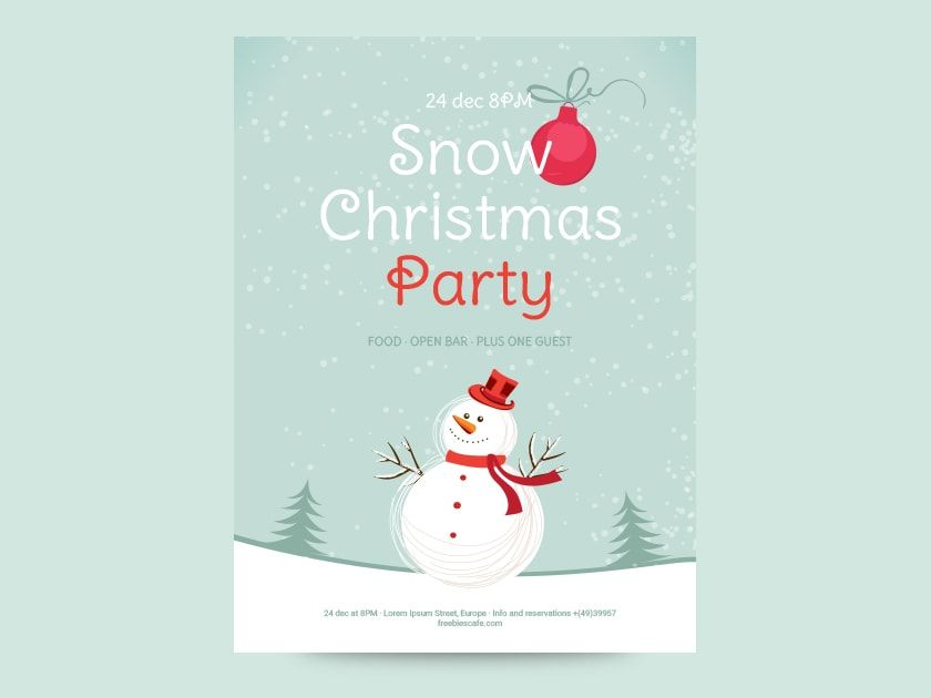 Free Snow Christmas Party Flyer EXCLUSIVE Freebies Pinterest