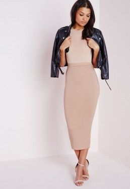 Tall Longline Jersey Midi Skirt Nude | Fashion My Style ...