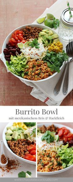 Photo of burrito bowl recipe with mexican rice, spicy mince, avocado, beans, may …