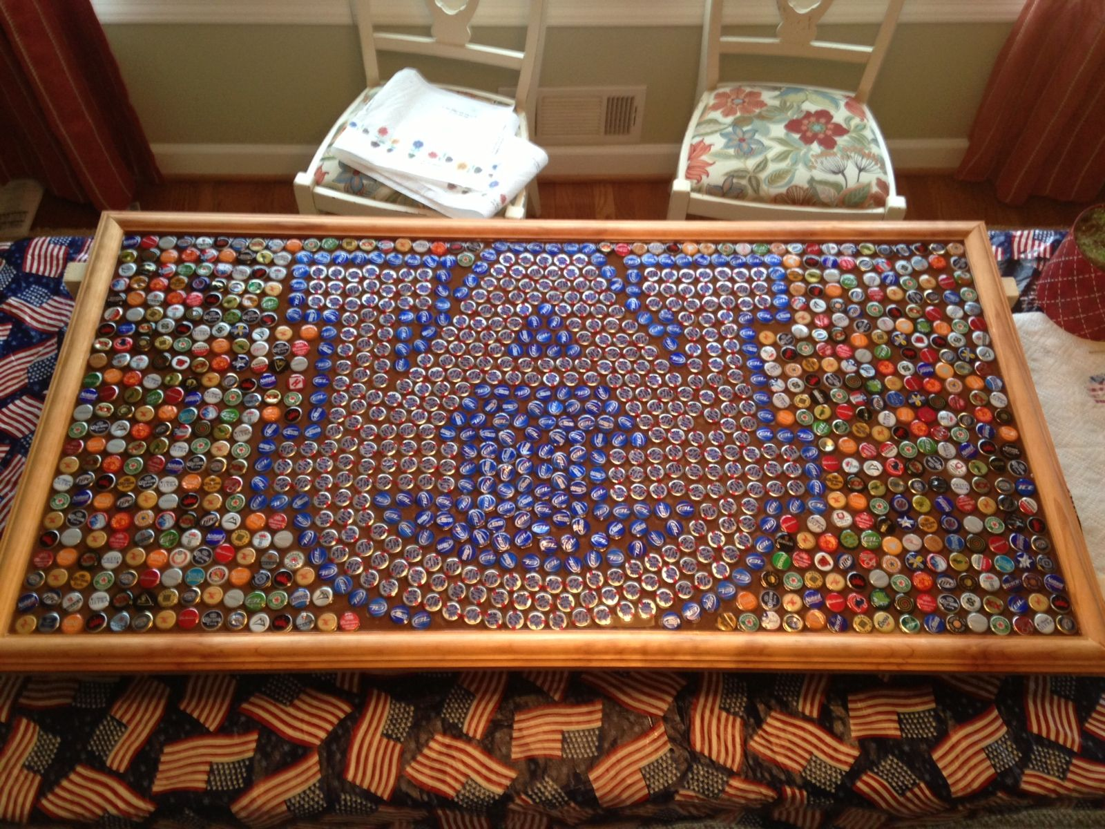 Auburn headboard made out of beer bottle caps