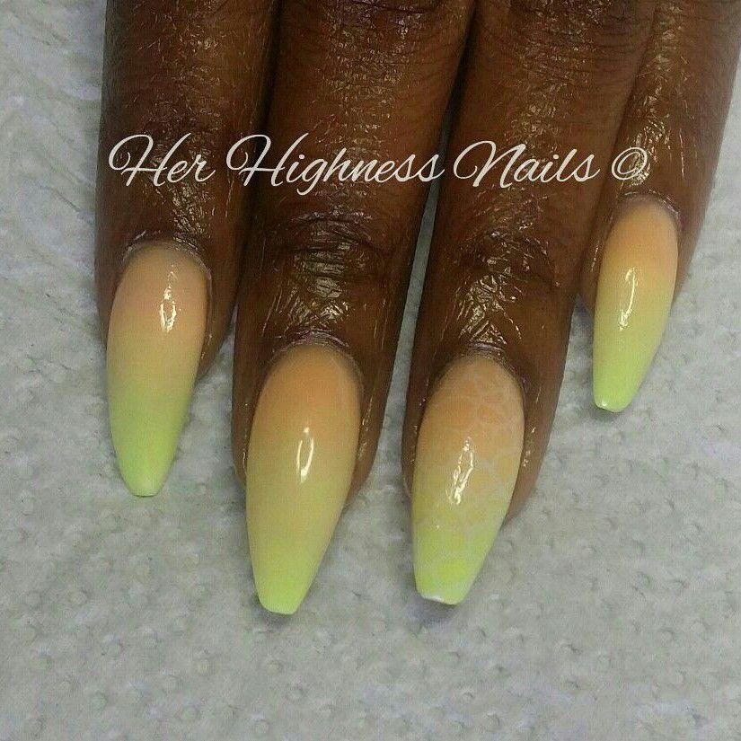 Neon Yellow & Orange Ombre Acrylic Overlay #youngnails ...