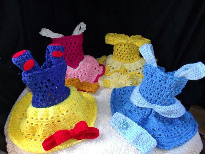 crochet photo prop Disney Princess Collection lot/set of 4 dresses ...