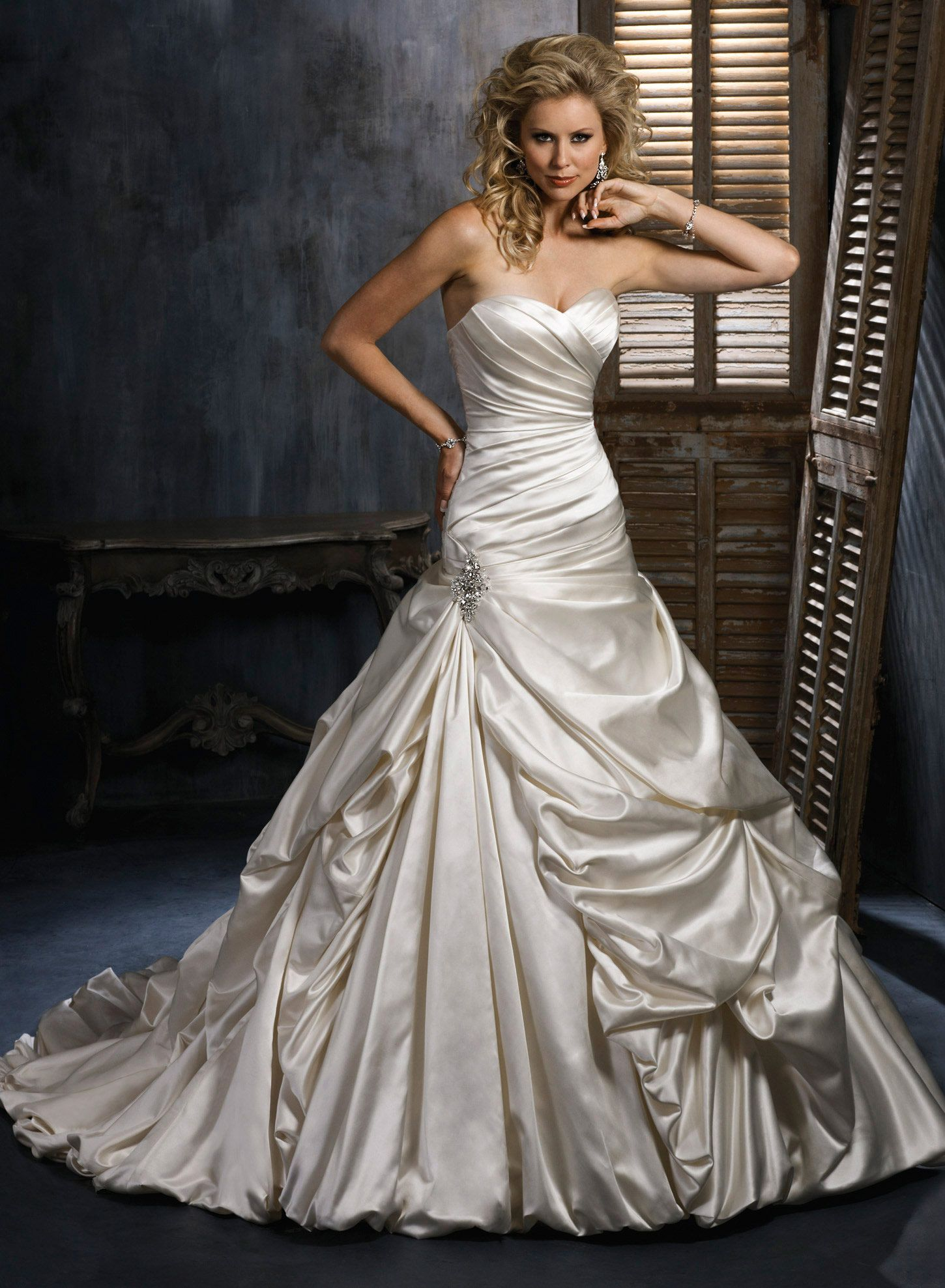 Satin Ball Gown With Asymmetrical Rouched Top Sweatheart Neckline And Sideswept Pickups