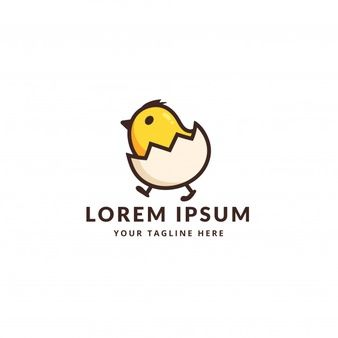 Cute little chicken with egg logo