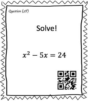 Solving Quadratic Equations by Factoring (30 Task Cards
