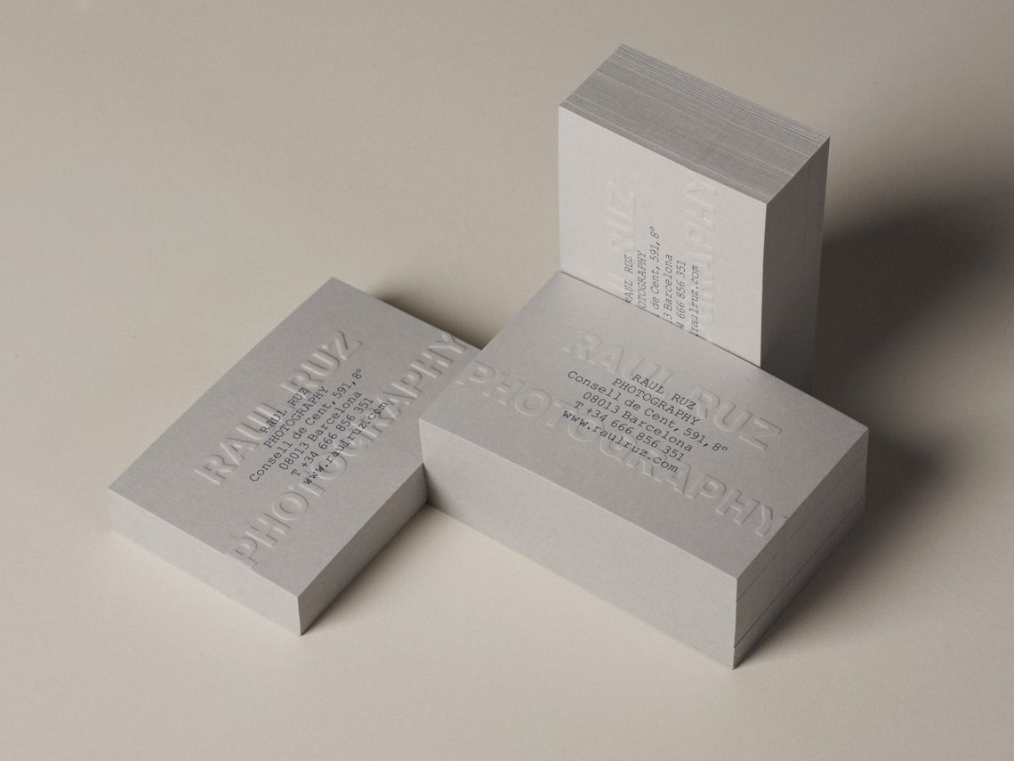 Brand identity and blind embossed business cards for photographer ...