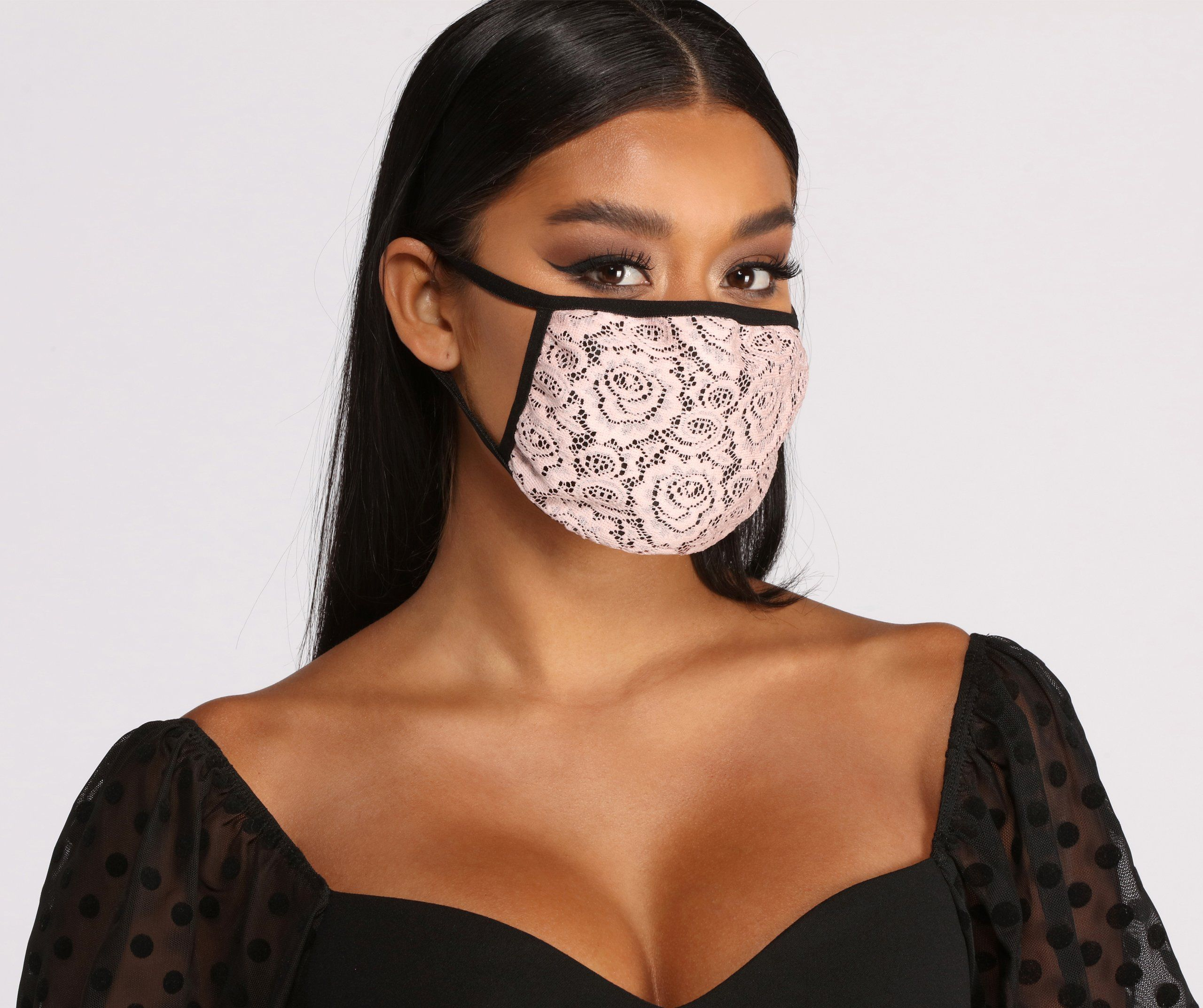floral lace face mask with earloops in 2021 fashion face mask fashion mask