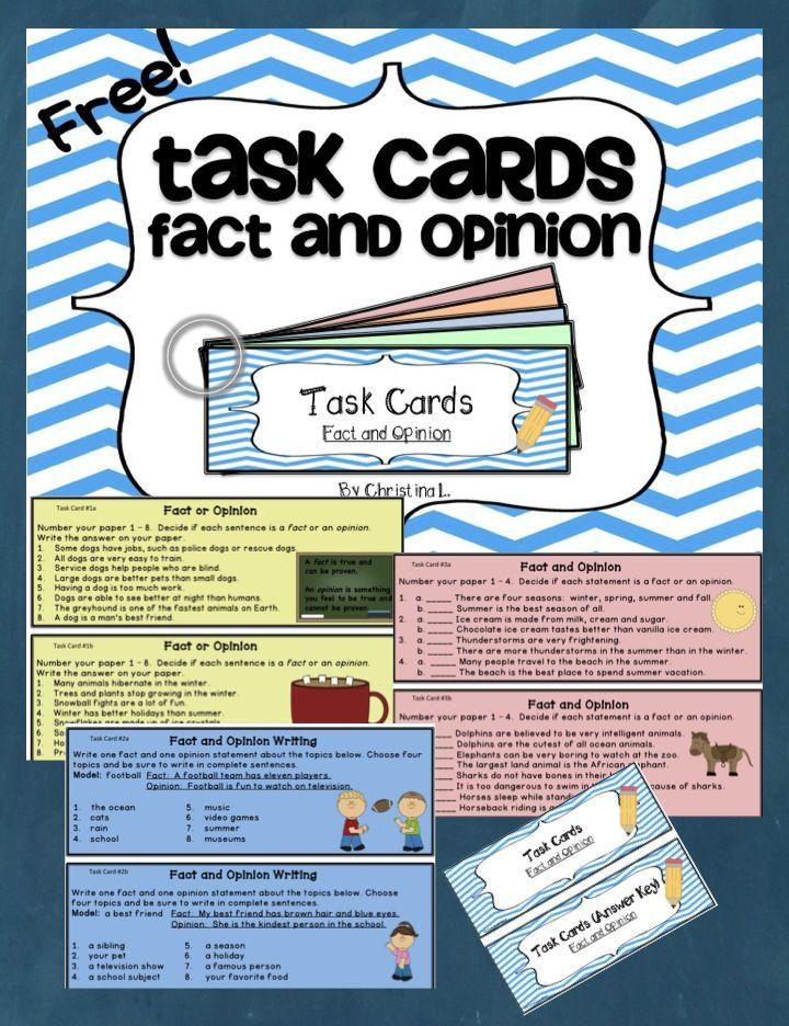 Fact And Opinion Task Cards 5th Grade Ela Social Studies