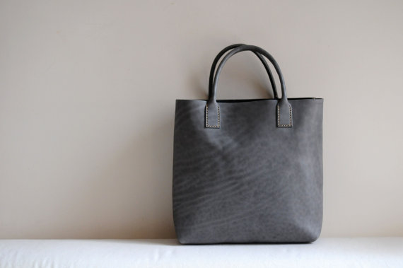 Hand Stitched Light Grey Leather Tote Bag