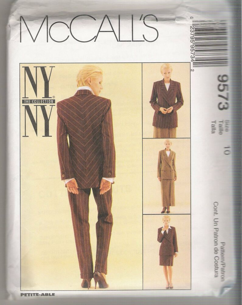 Misses' Lined Jacket, Lined Skirt & Pants McCall's Sewing Pattern 9573 Size 10 #McCalls #Jacket