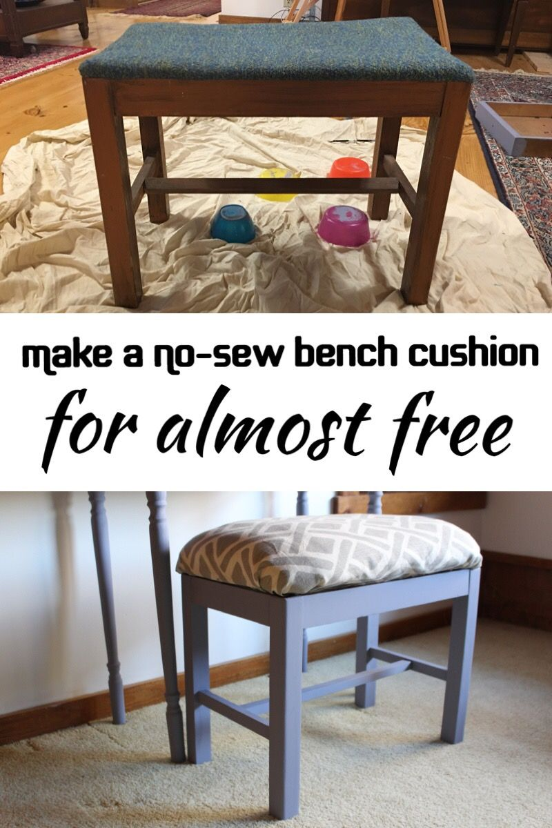 Diy no sew bench seat cushion using a bed pillow upcycle