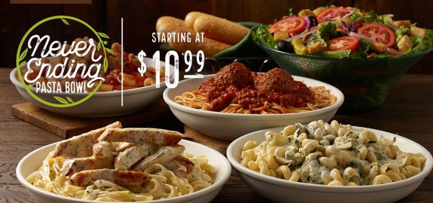 Olive Garden: Never Ending Pasta Bowl Starts Today! | Deals | Pinterest