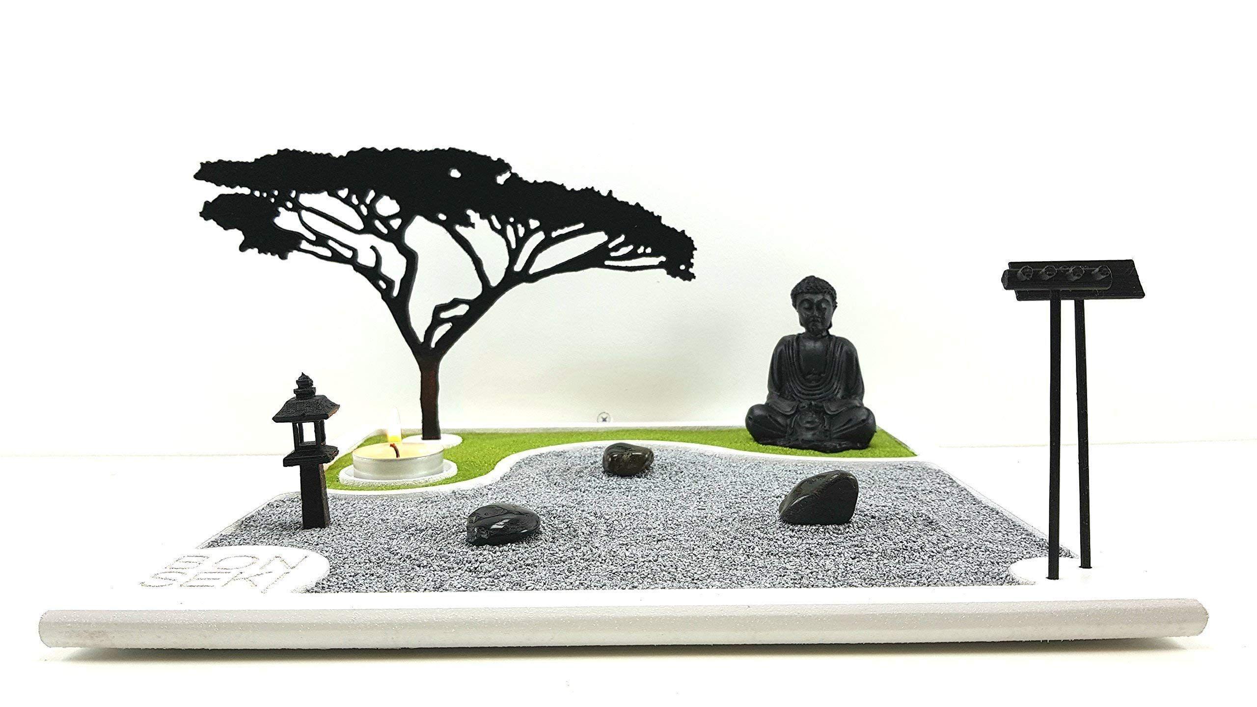 Bonseki? Giardino Zen da tavolo 30 x 30 in legno, proietta