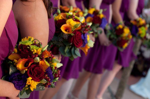 Plum Dresses Were The Bridesmaids Color With Fall Flowers In