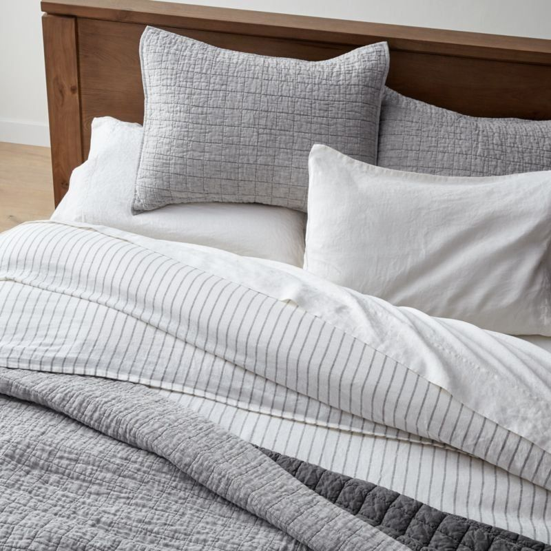 Grey Belgian Flax Linen Quilt Full, Crate And Barrel Bedding Reviews