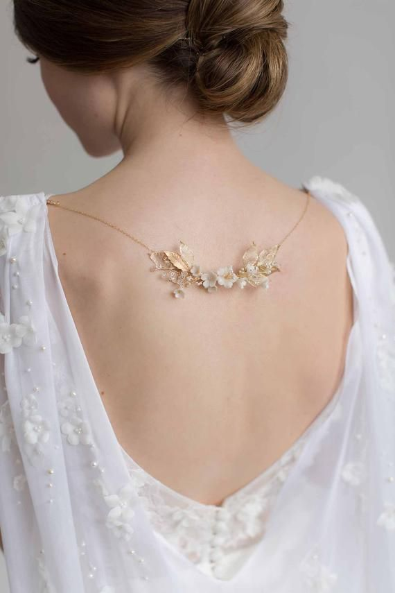 Photo of Back Necklace, Floral Necklace, Floral Bridal Necklace, Reverse Necklace, Dress Necklace, Wedding Necklace, Floral Wedding Jewellery