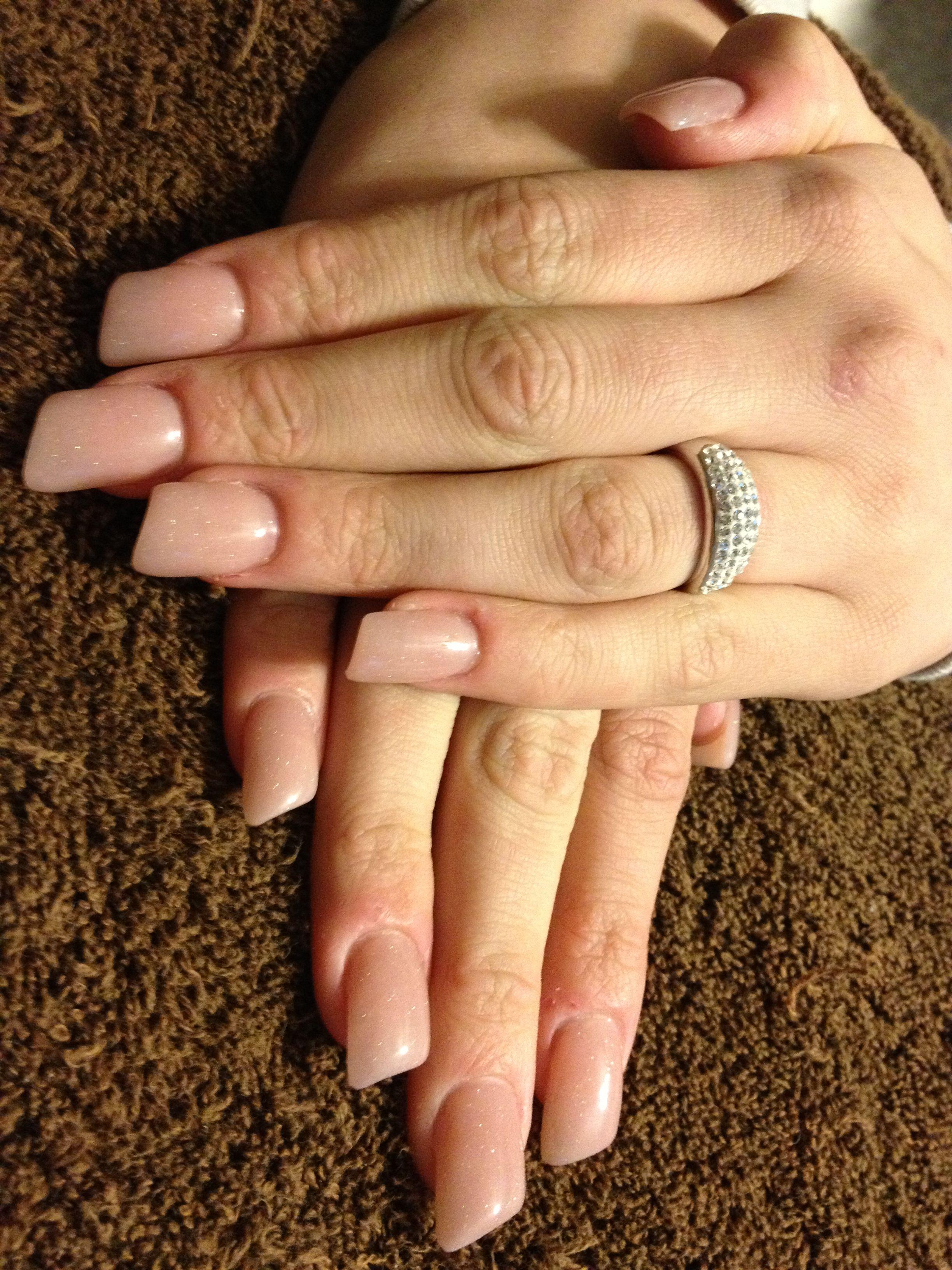 Lipstick nails with peach sparkle acrylic | Sara\'s nail designs ...