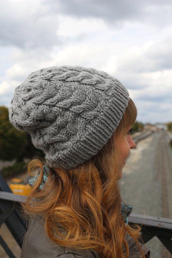 Toque / Beanie Hat// Warm Knit Hat/ Cable Knit Beanie / Grey / Gray / Ash / Asphalt / Neutral / Charcoal / Silver / Wool Loose Warm Beanie