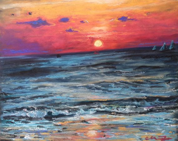 Oil Pastel Painting Of Venice Beach Sunset Oil Pastel Paintings