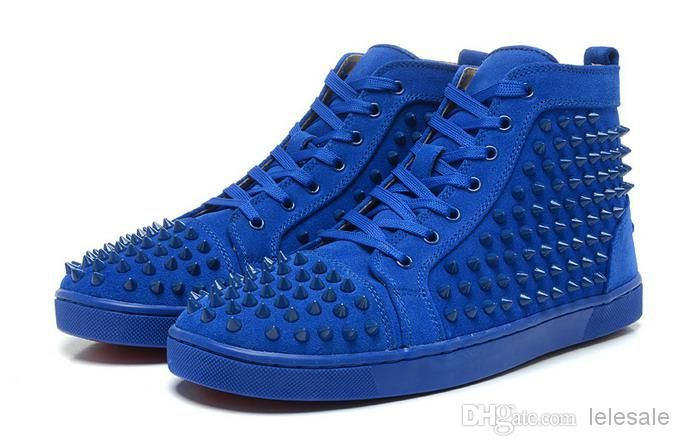 1a7baeb48de Cheap High Top Sneakers - Best Men S Red Bottom Shoes Blue Matter Leather  Online with  92.5 Pair