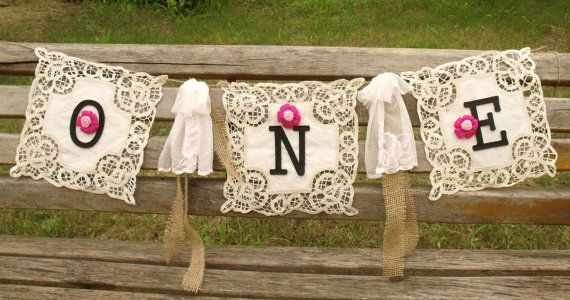 1st First Birthday Garland ONE Burlap Banner by BetterhomeLiving