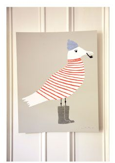 Schönes Poster fürs Kinderzimmer: Sammy Seagull, die Möwe im tollen Ringelpullover.