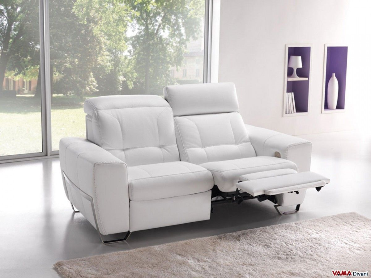 Best White Leather Reclining Sofa , Elegant White Leather Reclining Sofa 91  For Your Small Home