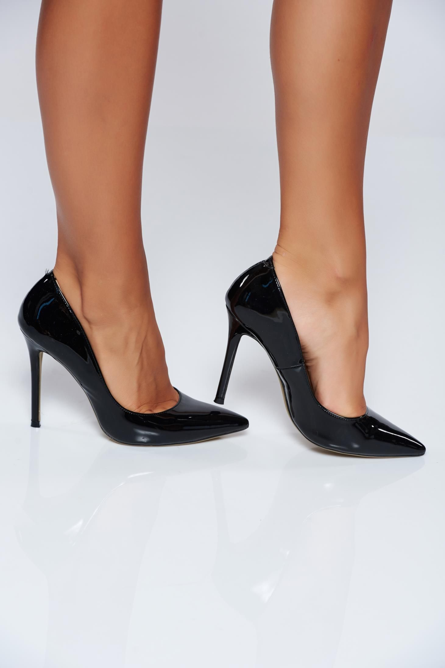 c5beeb6766491 Black high heels elegant shoes with slightly pointed toe tip, insole  material: ecological leather, lacquer fabric, women`s shoes, stiletto, high  heels, ...