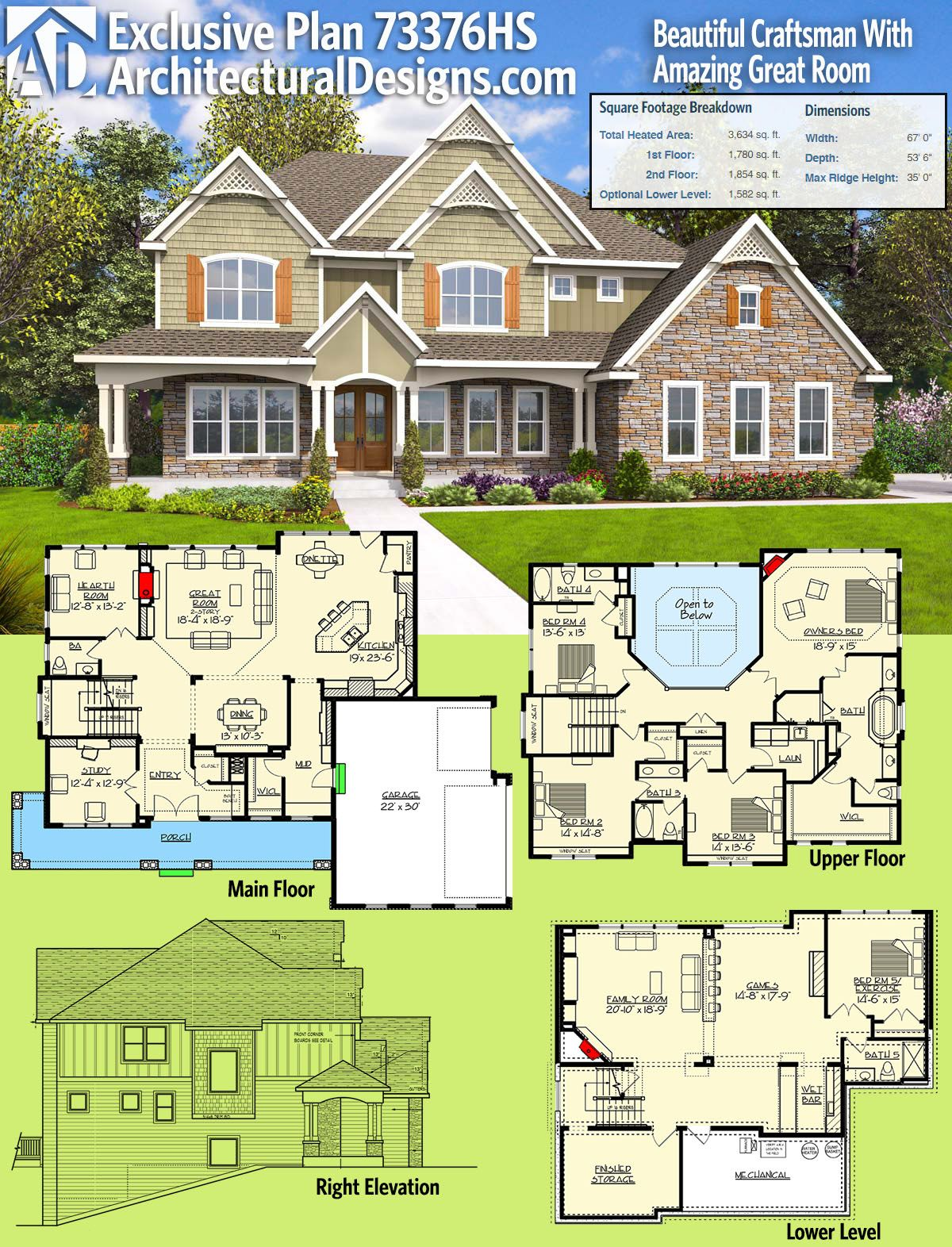 House Plan 73376HS Beautiful Craftsman With Amazing