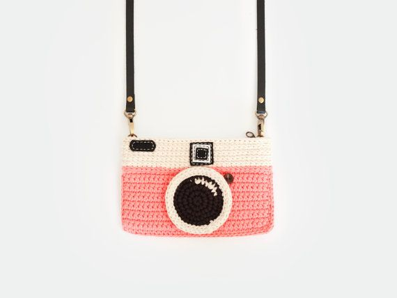 Items similar to Crochet Vintage Camera Purse/ Pink Color on Etsy
