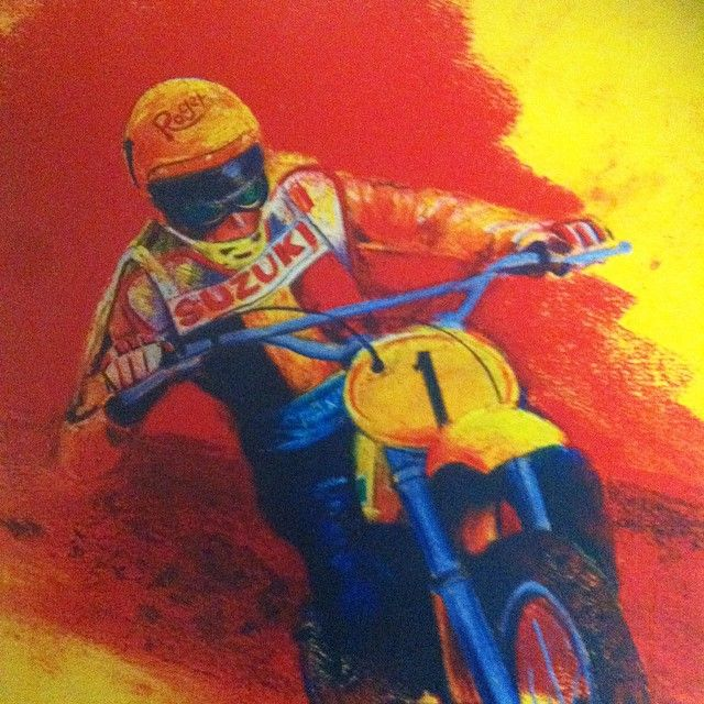 Roger DeCoster fine art hangs in the DGVMG. Drawn by Mark Parker. So cool to have this on the wall of fame.#dgvmg #dgcollection #rd#theman #suzuki #worldchampion #belgianmotocross #motocrosshistory