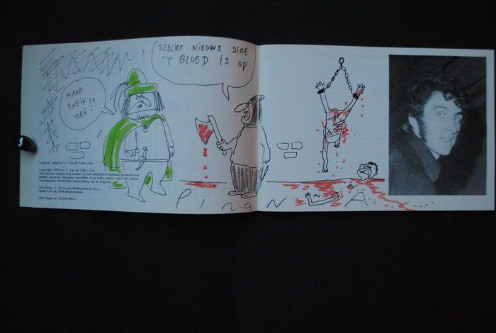 Pirana - Cartoons uit De Folterkamer - beperkte oplage - met originele tekening in boek (1976)  Cartoons uit De Folterkamer met originele tekeningNiet in de handel verkrijgbaar 14x20cmWet. depot nr.: D/1976/1893/3  EUR 1.00  Meer informatie