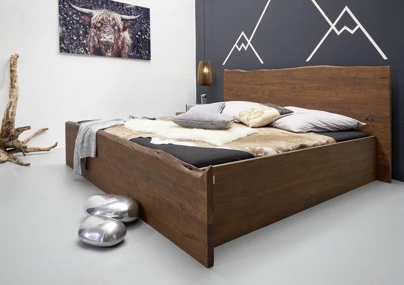 Bett Akazie 180x200x braun lackiert LIVE EDGE #003 Jetzt bestellen - schlafzimmer braun weiß