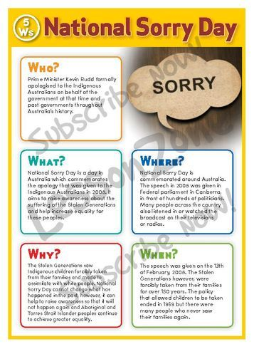 Australian History National Sorry Day poster (subscription required - new letter to minister format australia