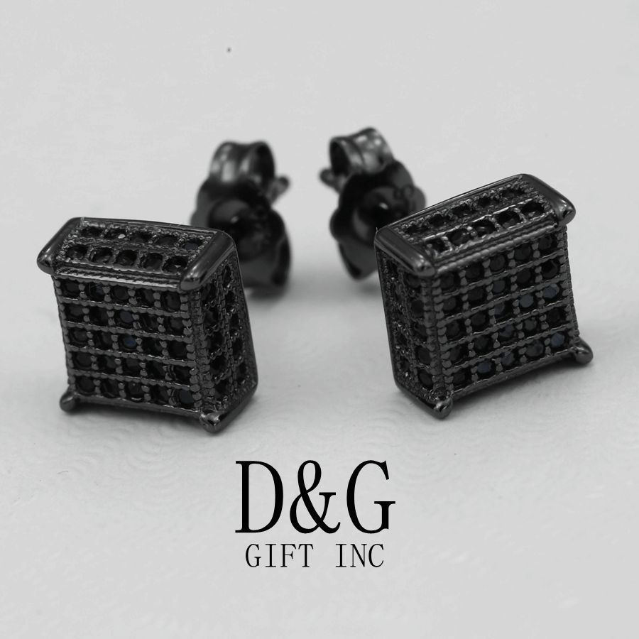 Dg Men S Sterling Silver 925 Iced Out Square Black Cz Earring Studs Uni Box