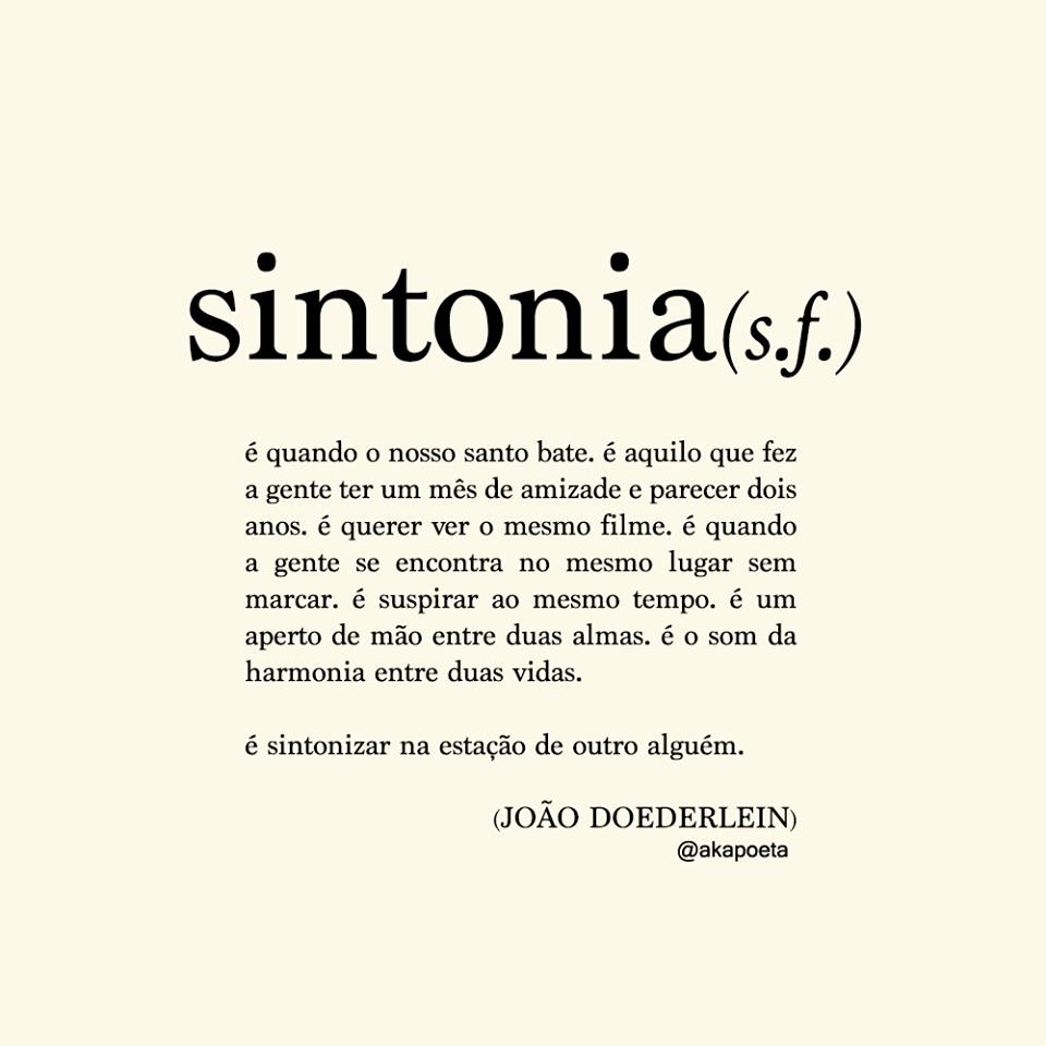 Sintonia é Eu E Você Citações Palavras Palavras E