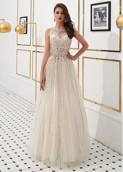fb6b2c6cb8 Champagne Tulle Jewel Beading Sequin Floor-length A-line Prom Dress promdress  ...