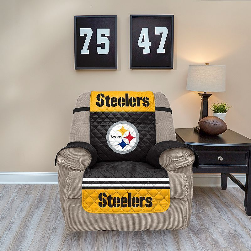 Pittsburgh Steelers Quilted Recliner Chair Cover, Multicolor