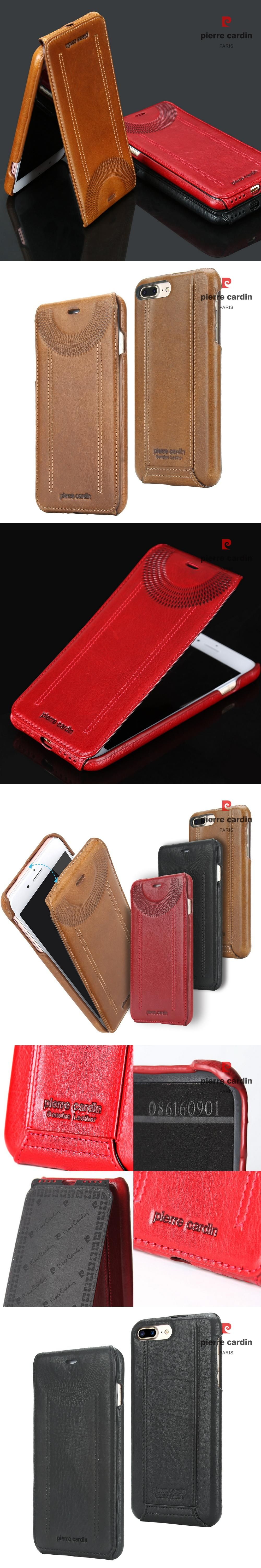 Pierre Cardin Original Mobile Phone Case Cover For Iphone 5 5s Se 6 Baseus Sky 6s 7 Plus Genuine Leather Up And Down Flip