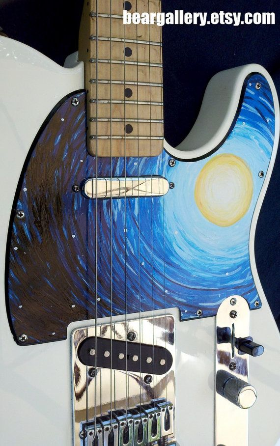 cool painted guitar pickguard guitar stuff pinterest painted guitars etsy and fender. Black Bedroom Furniture Sets. Home Design Ideas
